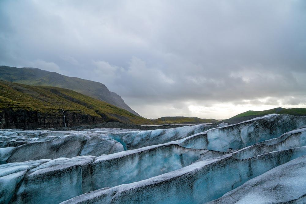 Blue glacier crevasses