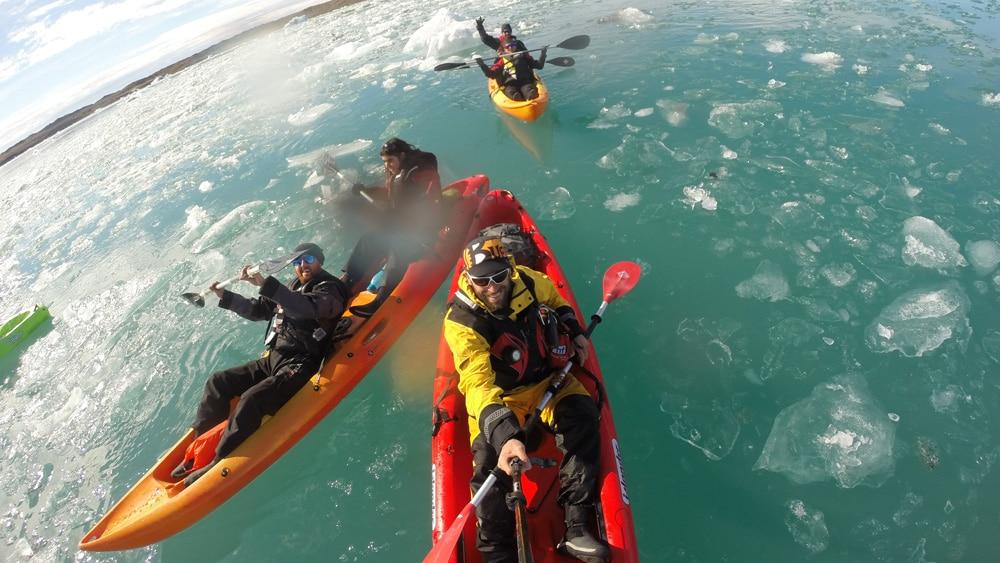 Glacier lagoon kayaking