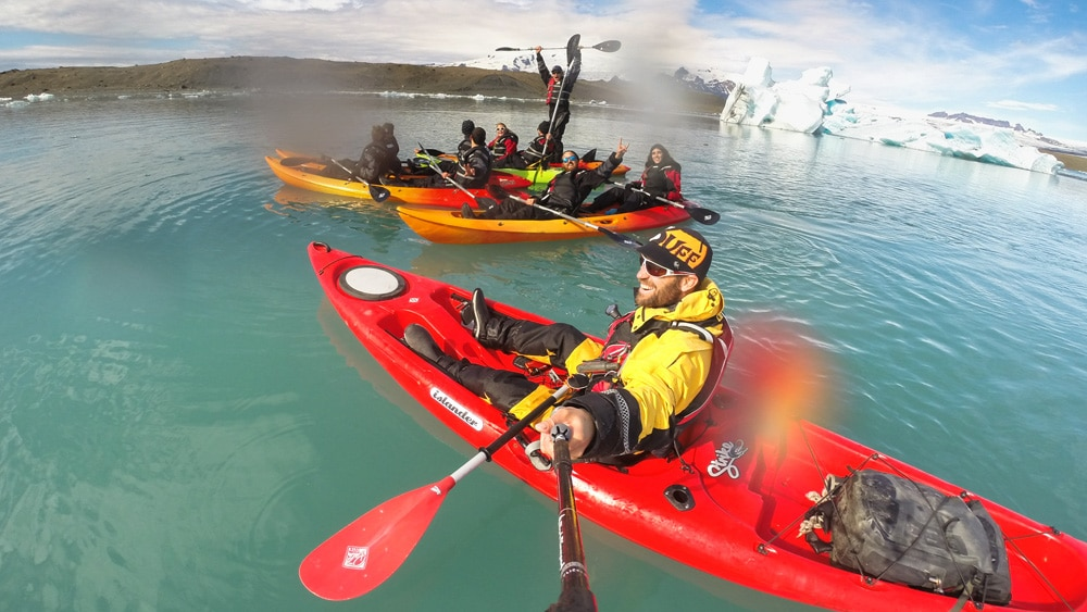 Ice lagoon kayaking fun